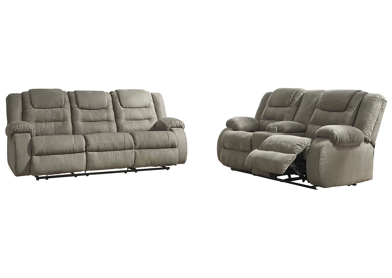 McCade Reclining Sofa and Loveseat w/Console