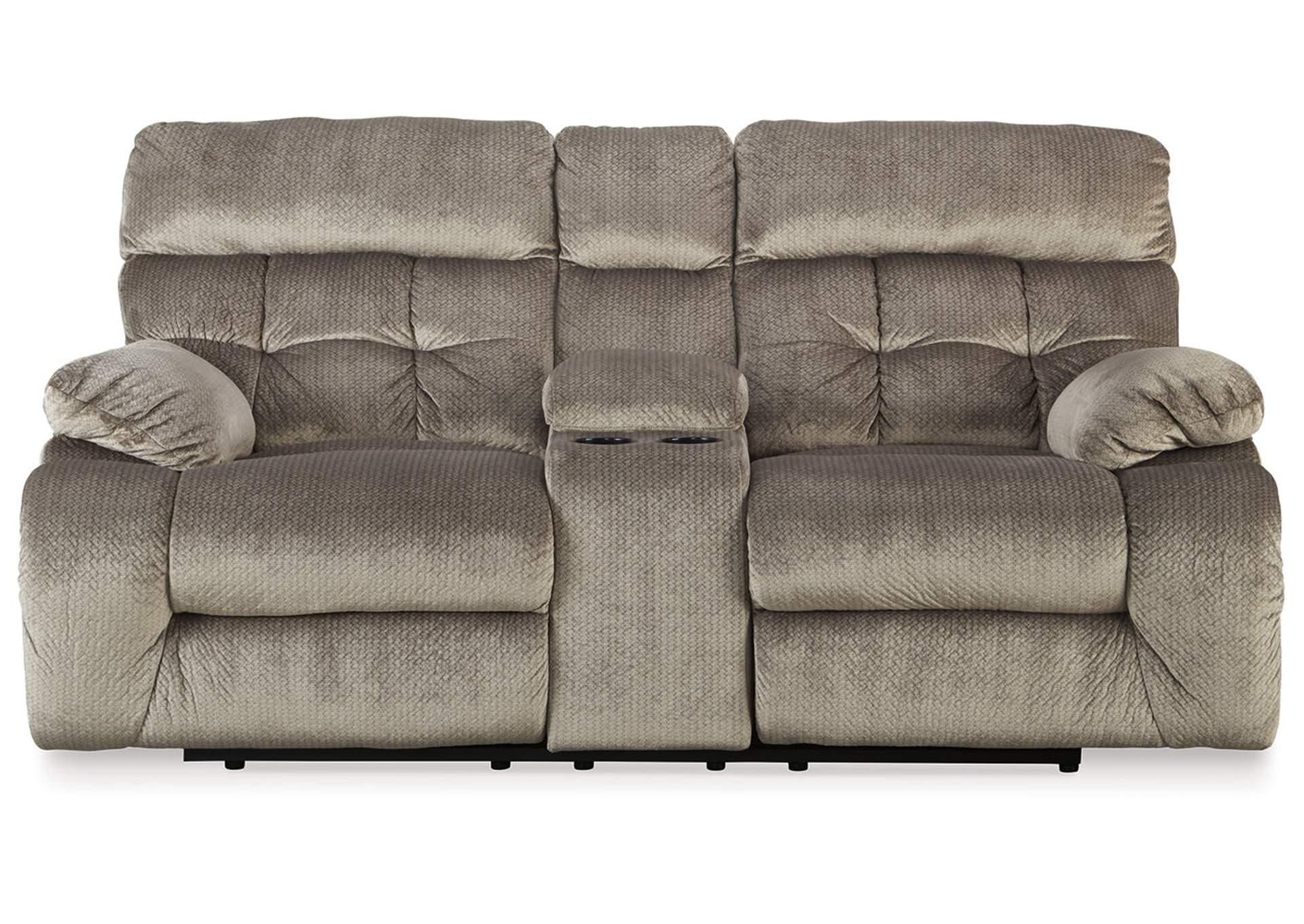 Loveseat (sofá de dos plazas) reclinable eléctrico doble Brassville color gris piedra con mesa trasofa/arrimo   PEDIDO ESPECIAL