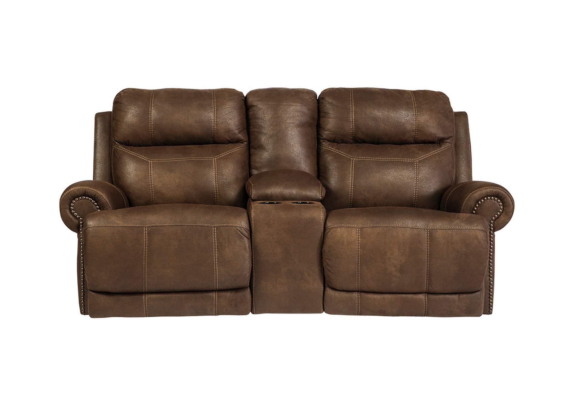 Loveseat (sofá de dos plazas) Austere reclinable eléctrico doble color marrón con consola   PEDIDO ESPECIAL
