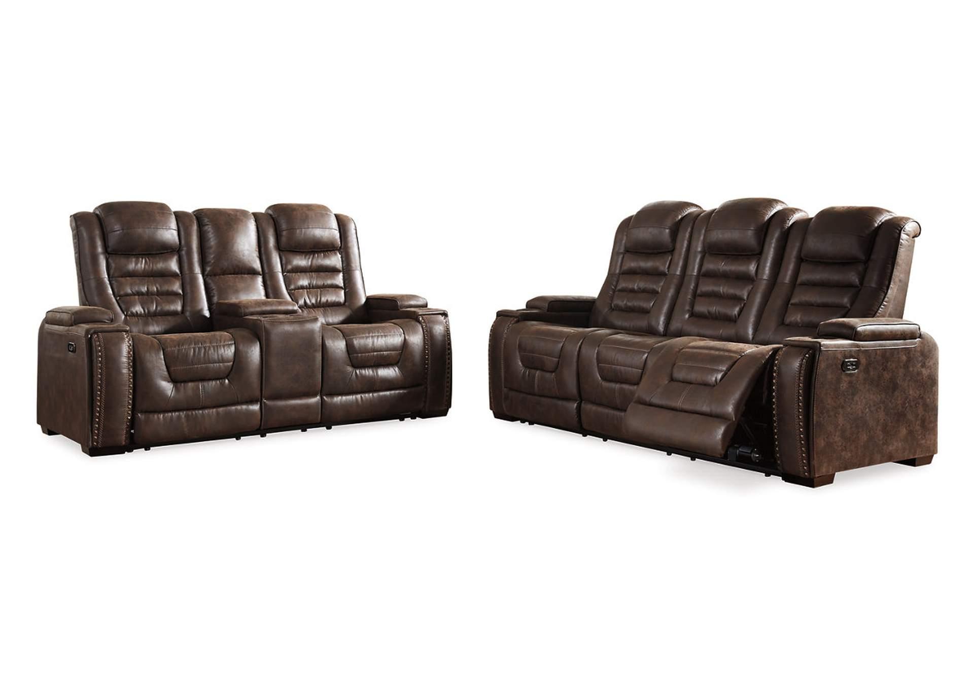 Juego de zona de alimentación de sofá reclinable y sofá de doble plaza c/reposacabezas ajusmesa