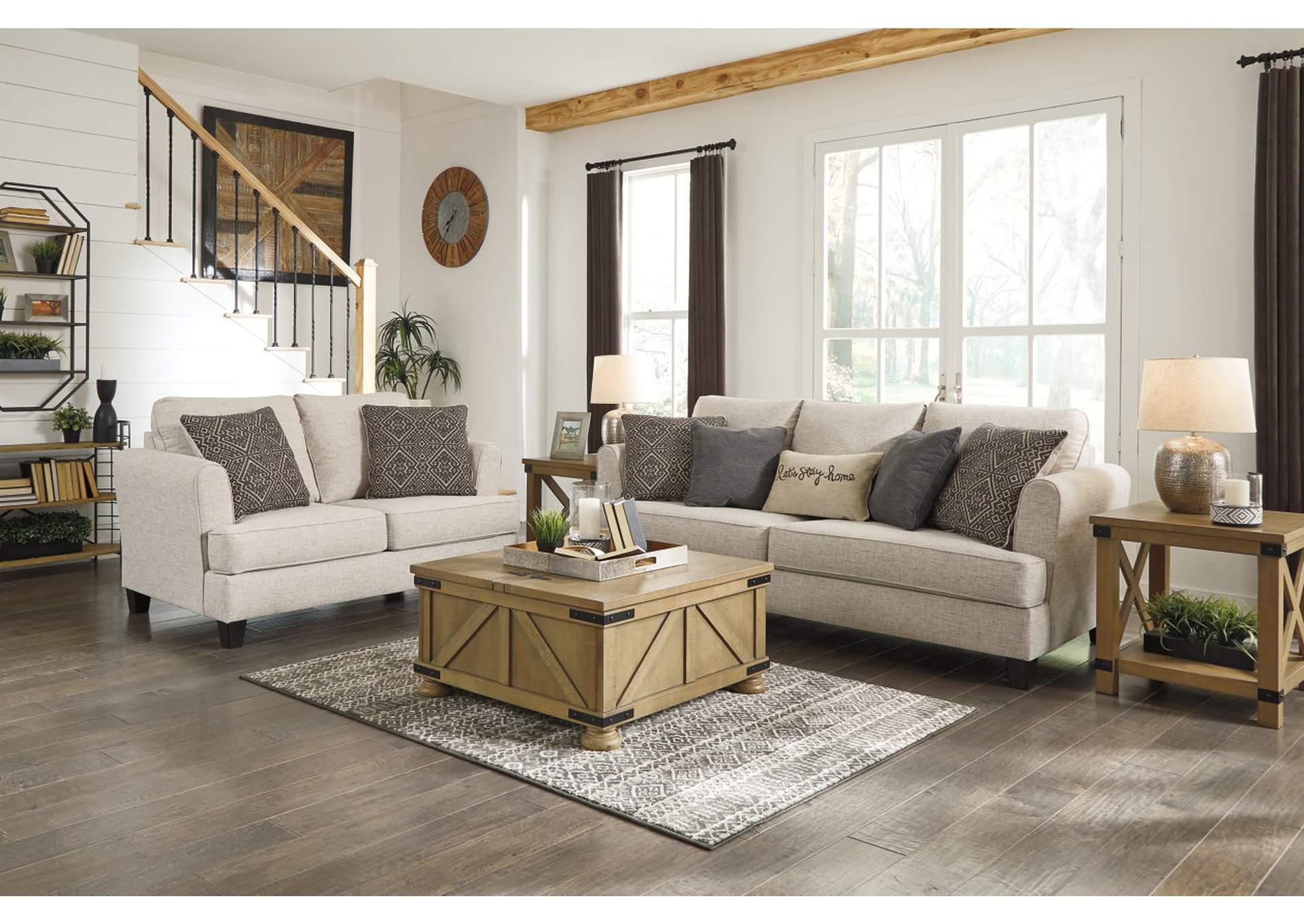 Alcona Linen Sofa and Loveseat