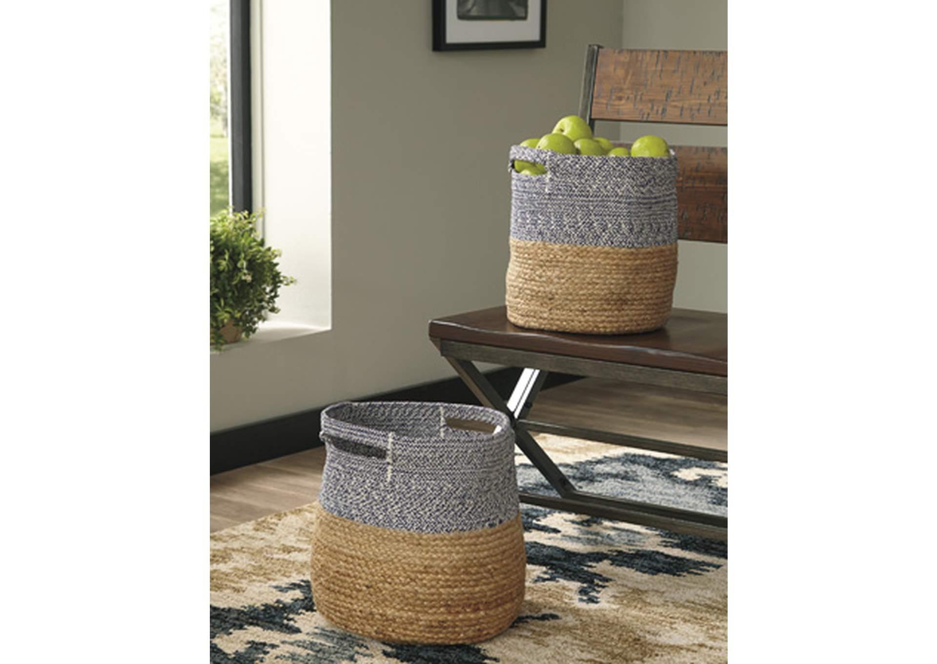 Parrish Natural/Blue Basket (Set of 2)