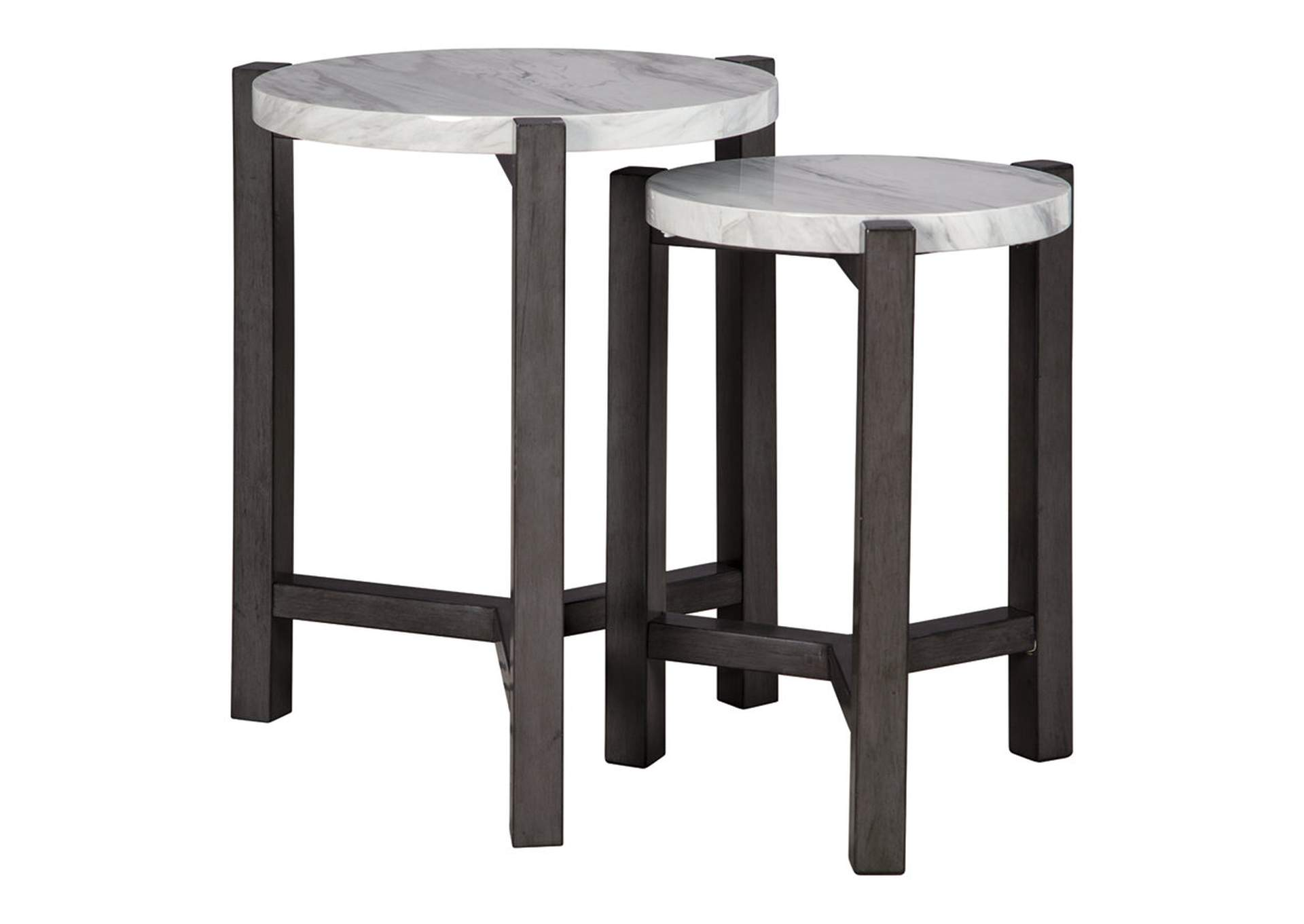 Crossport Gray/White/Brown Accent Table (Set of 2)