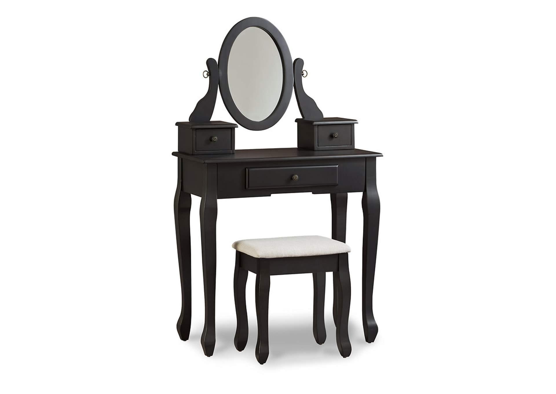 Huey Vineyard Black Vanity W/Mirror & Stool