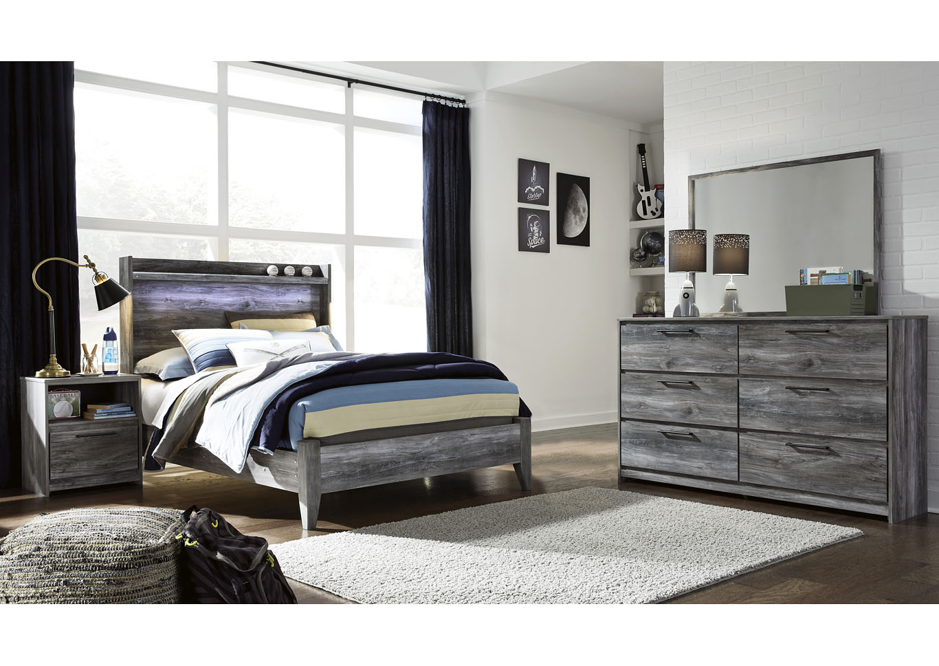 Baystorm Full Panel Bed w/Dresser and Mirror