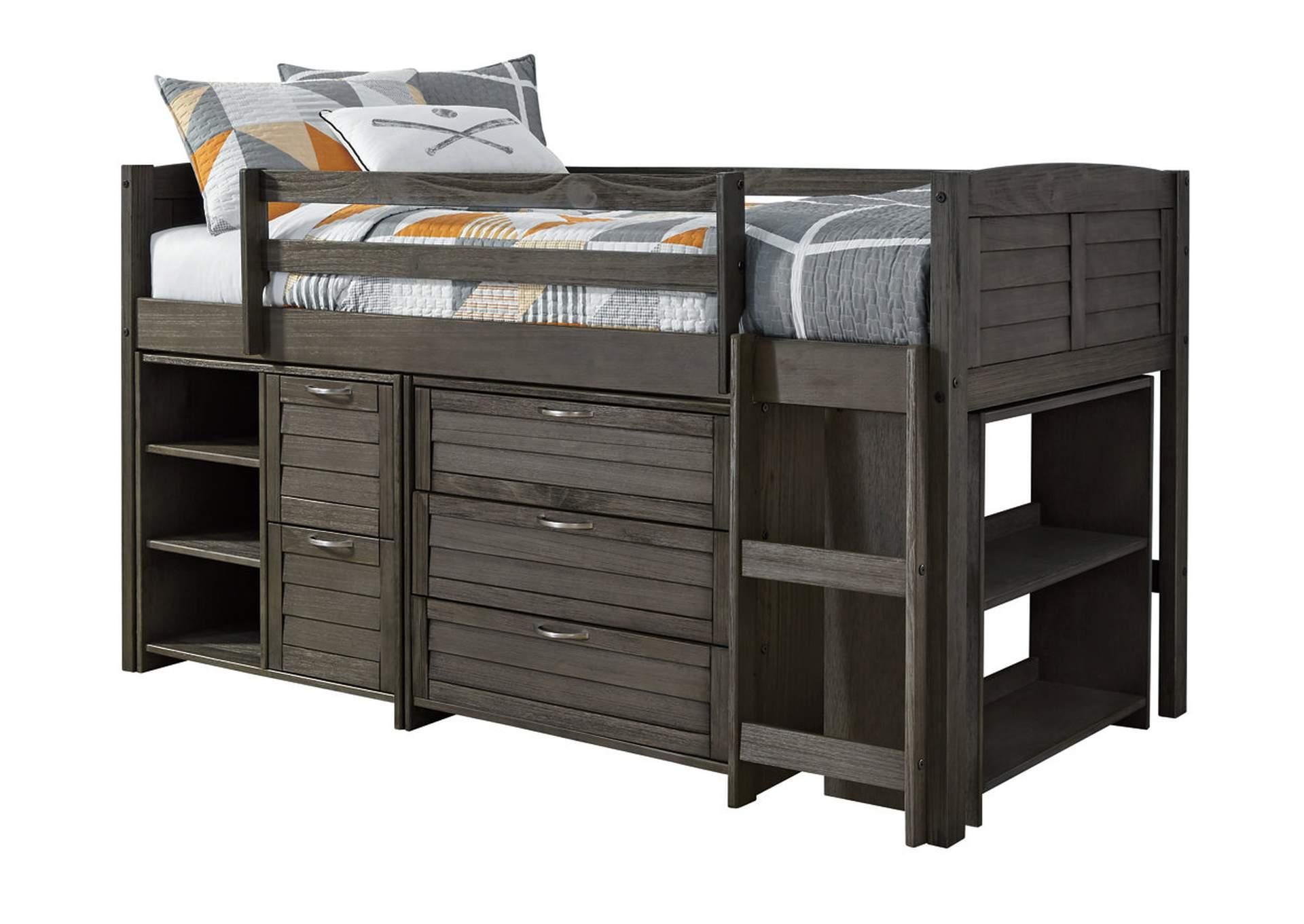 Caitbrook Twin Loft Bed w/Storages