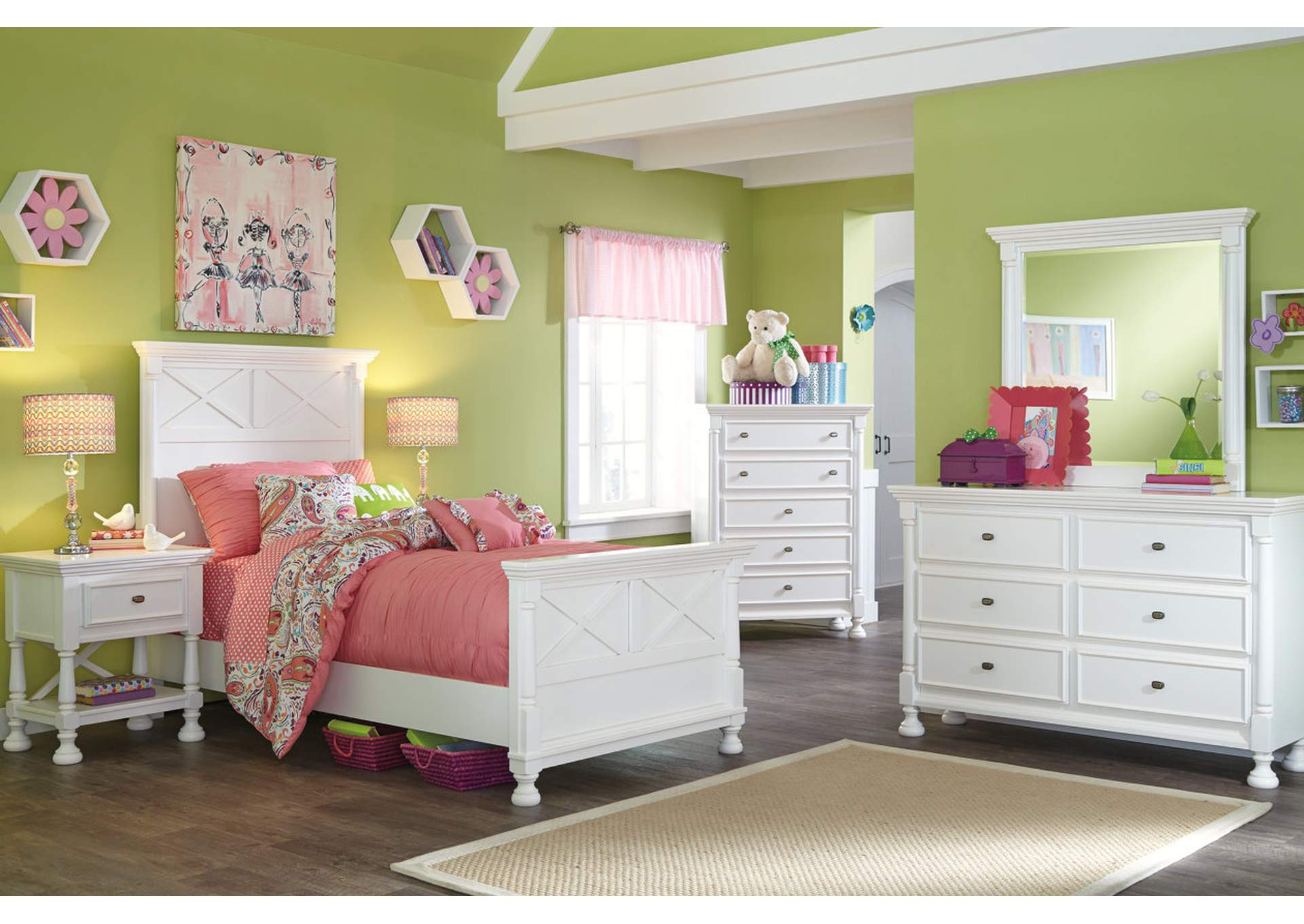 Panel Twin Kaslyn Bed c/Dresser & Mirror