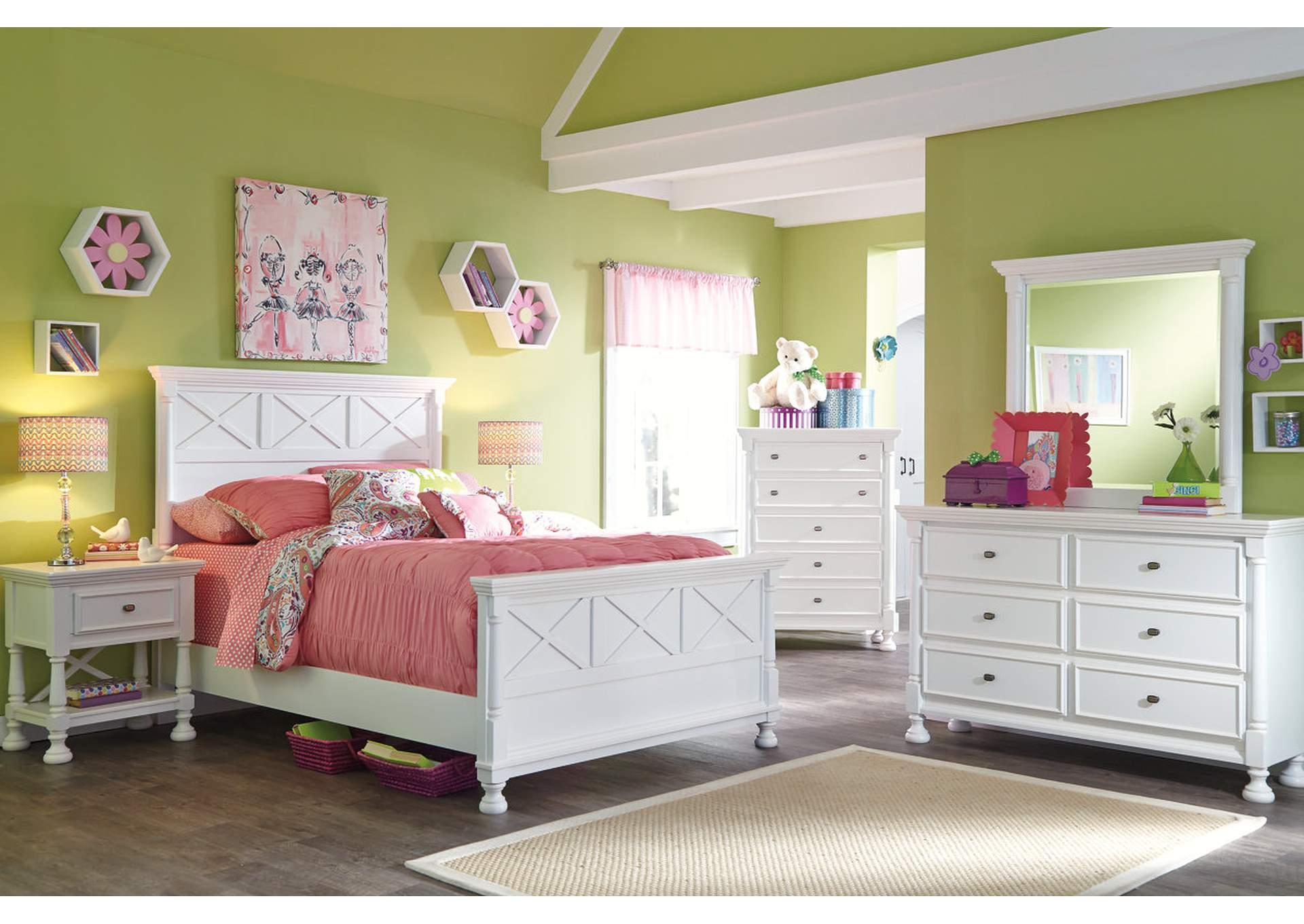 Kaslyn Panel de cama full c/Cómoda y espejo