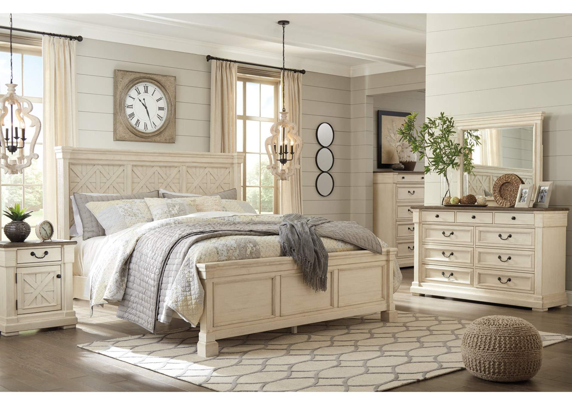 Bolanburg King Panel Bed w/Dresser and Mirror
