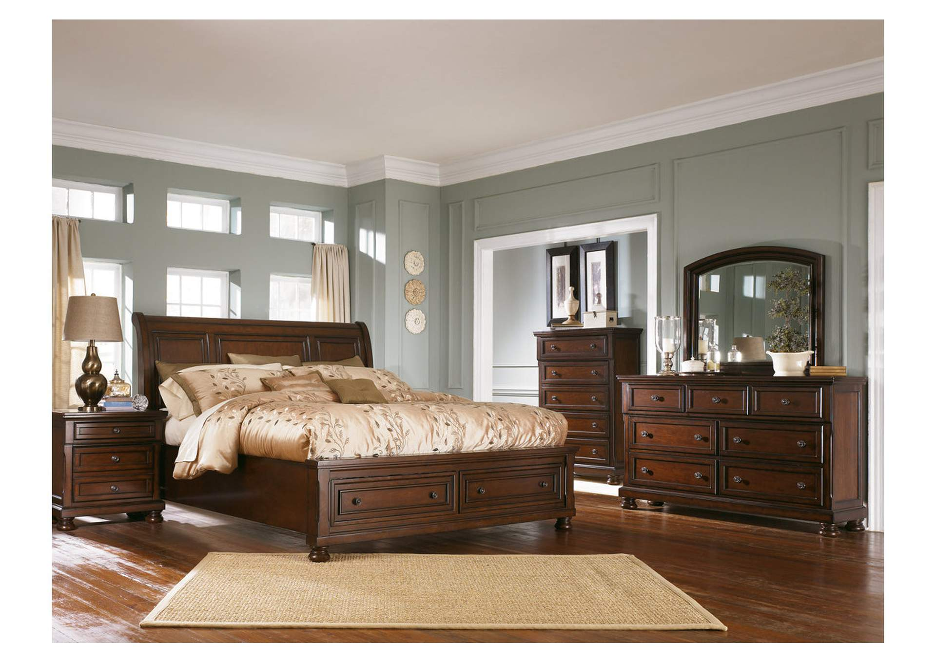 Porter Queen Sleigh Bed w/Dresser and Mirror
