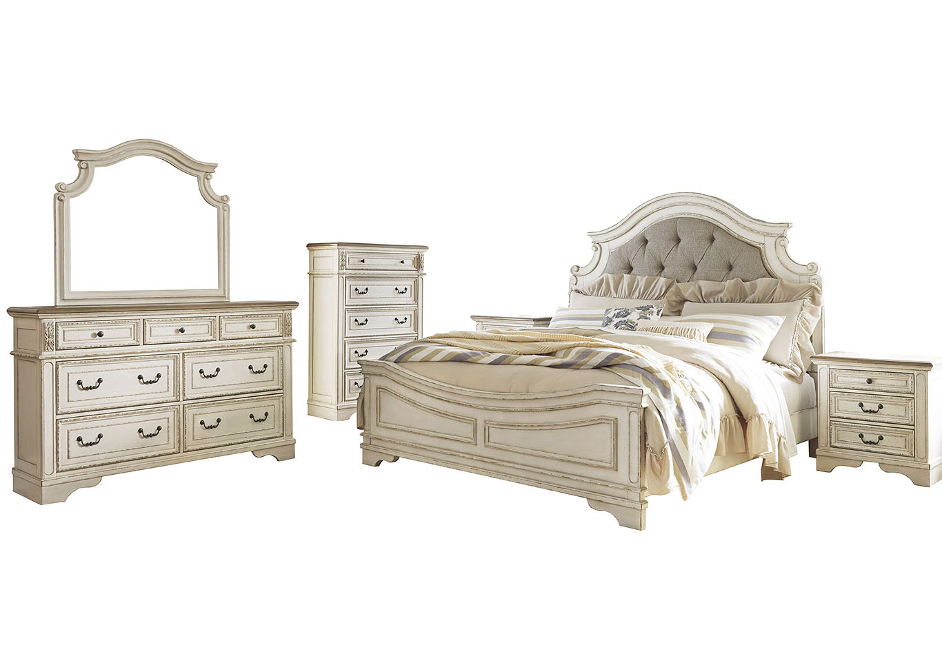 Realyn Chipped King Panel Bed and Dresser w/Mirror