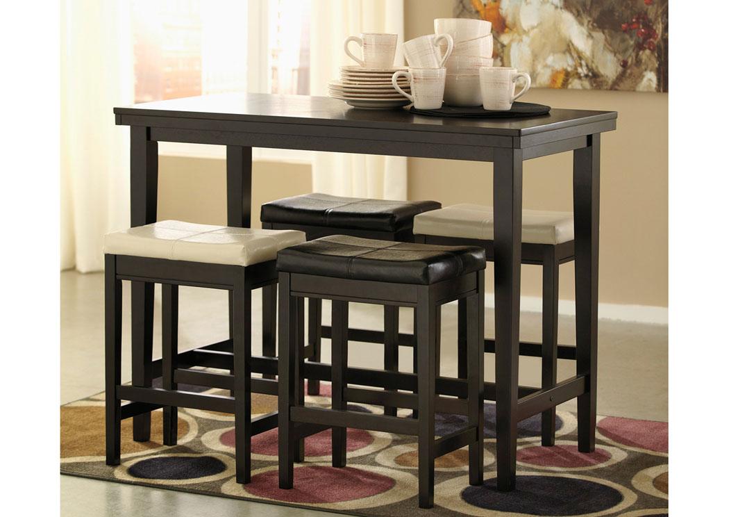 Kimonte Rectangular Counter Height Table w/4 Bar Stools