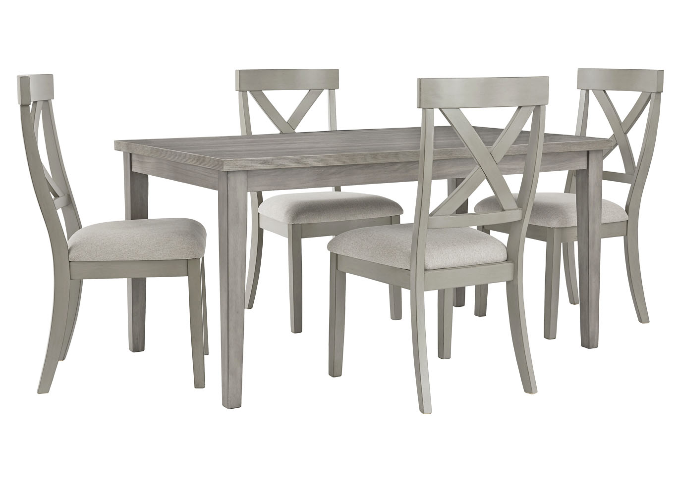 Parellen Gray Dining Table w/4 Side Chair