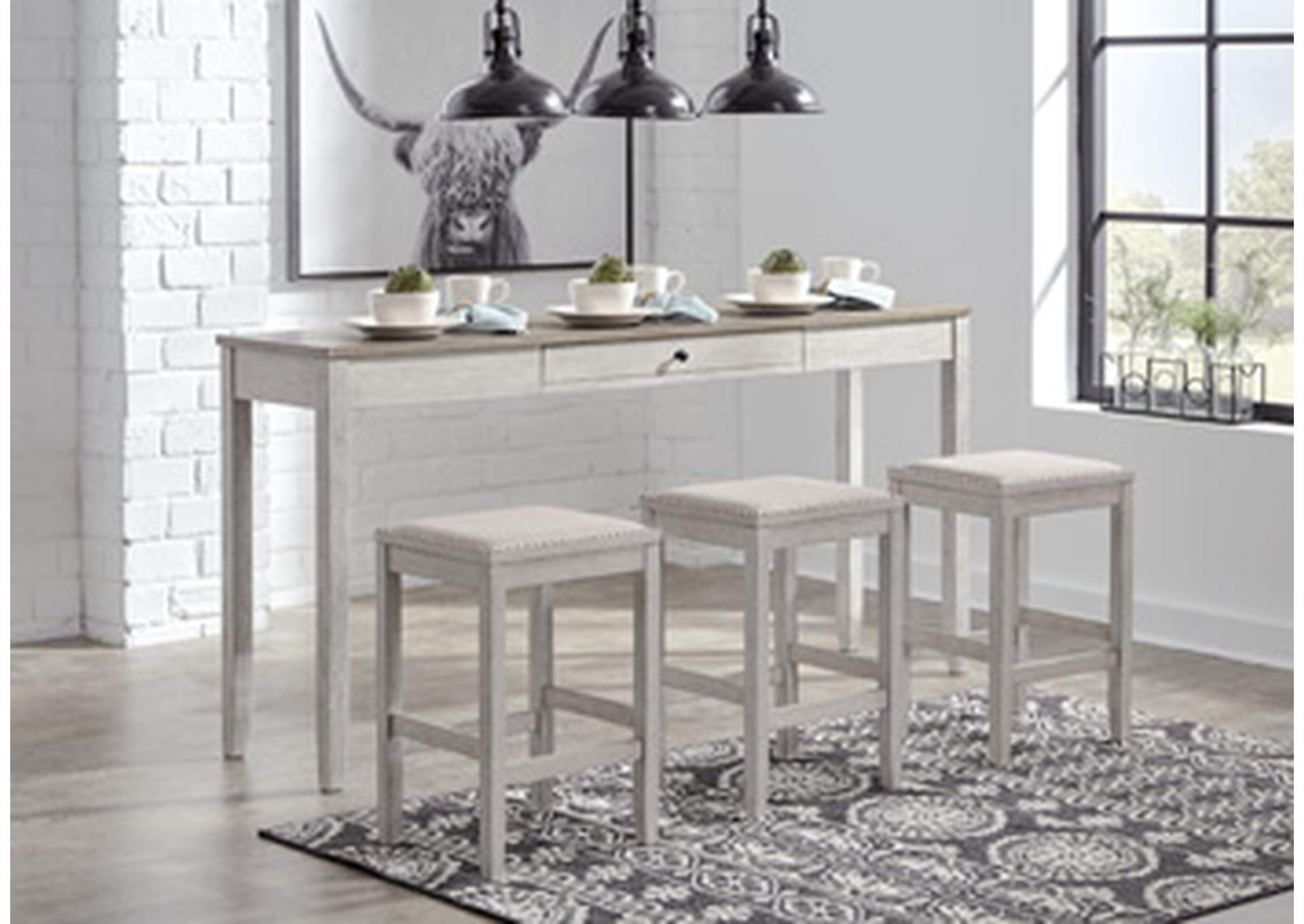 Skempton Counter Height Dining Room Table and Bar Stools (Set of 3)