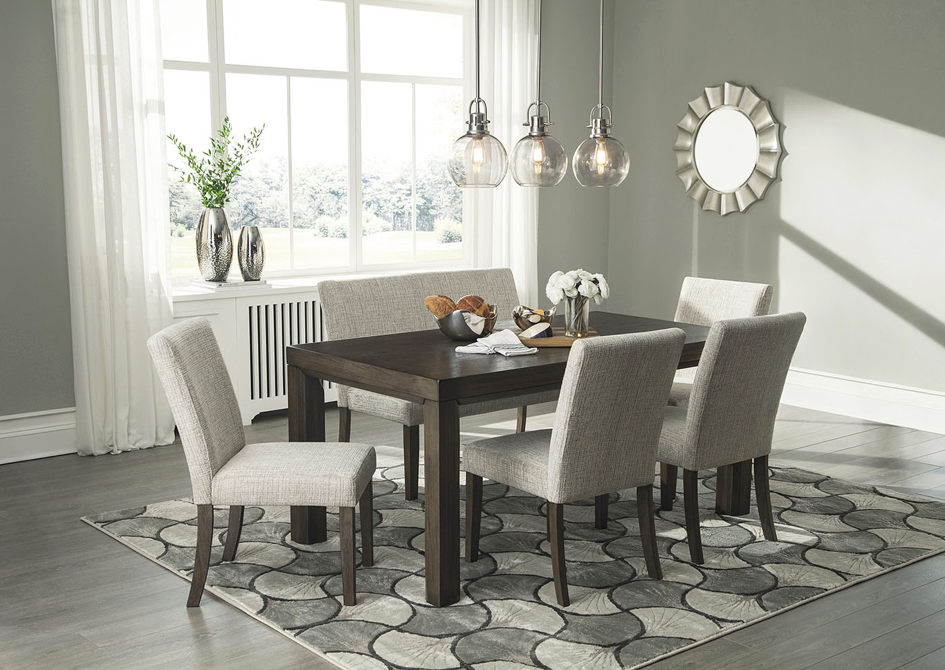 Deylin Dining Table W 4 Side Chairs And Bench Ashley Furniture Homestore Independently Owned And Operated By Dash Square