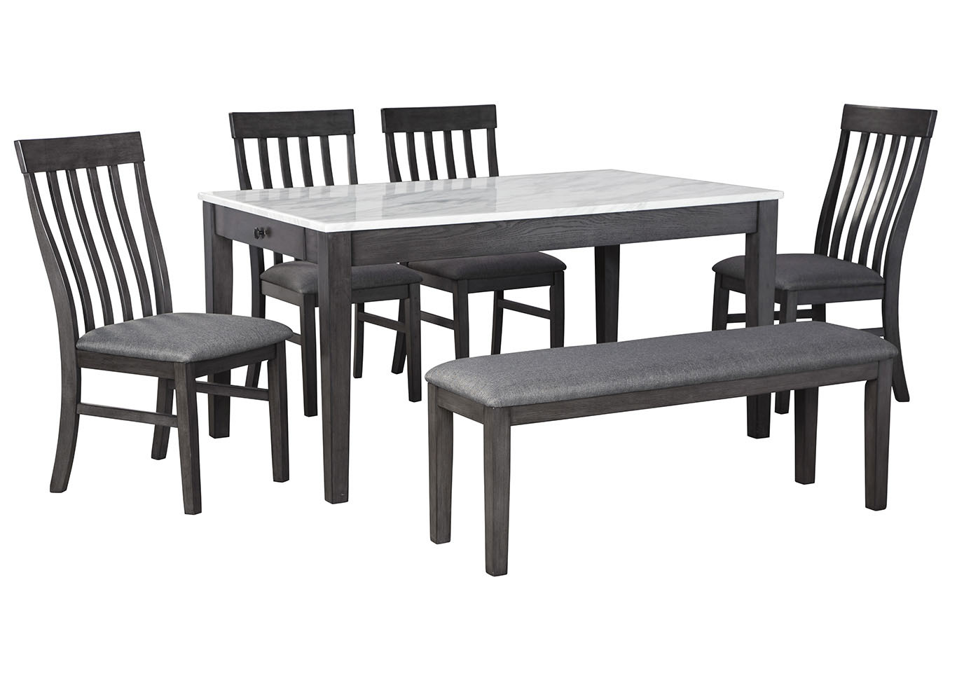 Luvoni Charcoal Dining Table w/4 Side Chair and Bench