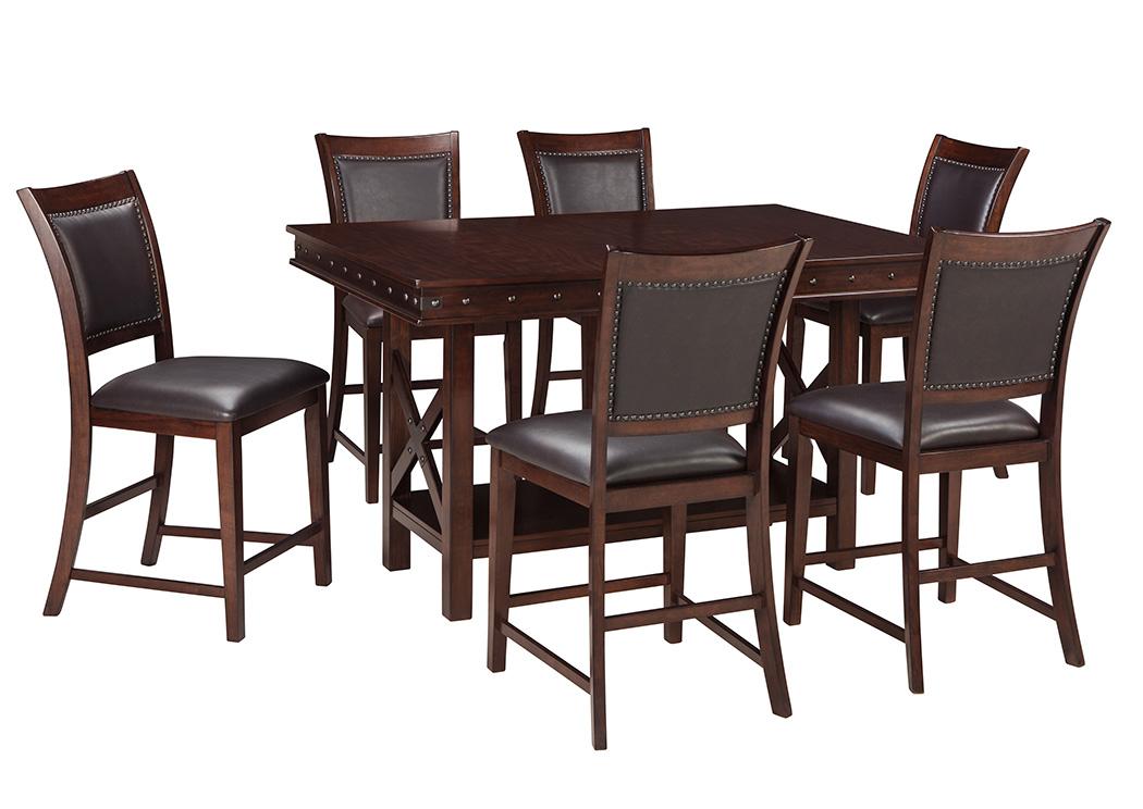 Mesa alta de comedor Collenburg Counter Height con 6 sillas altas