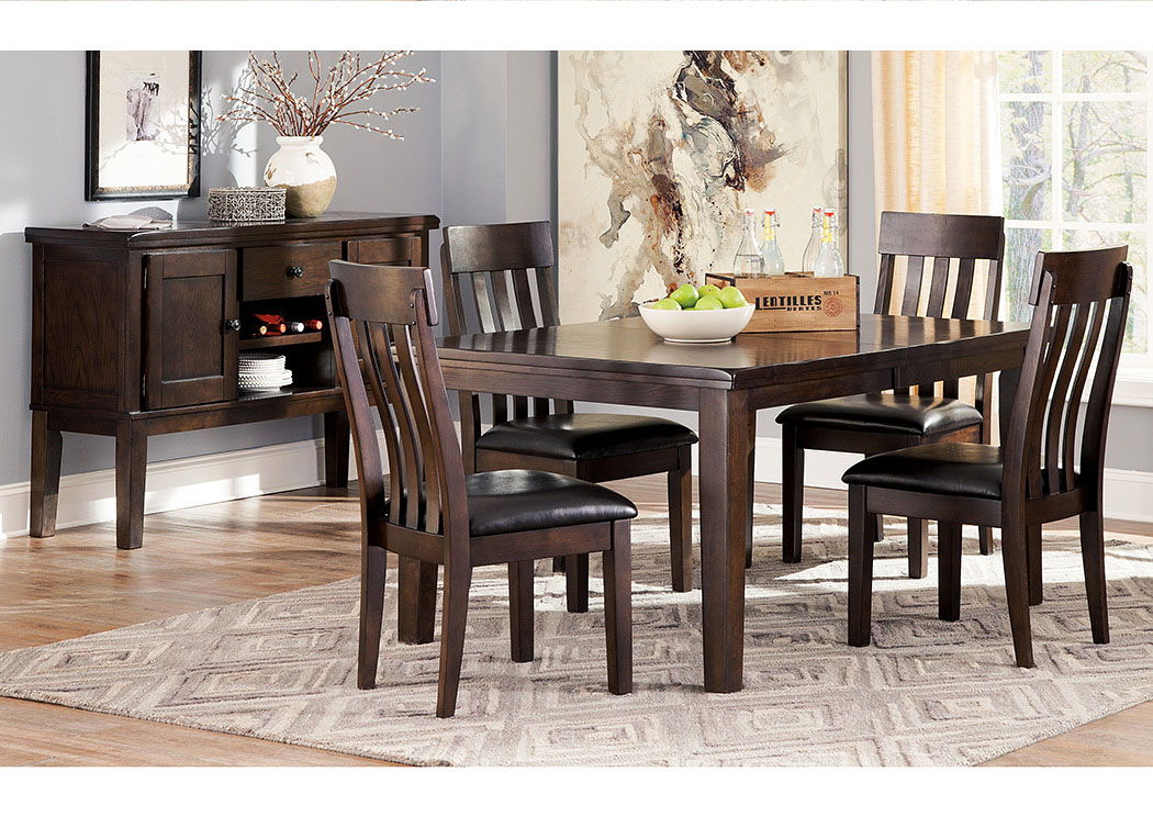 Haddigan Rectangular Dining Table w/4 Chairs and Server