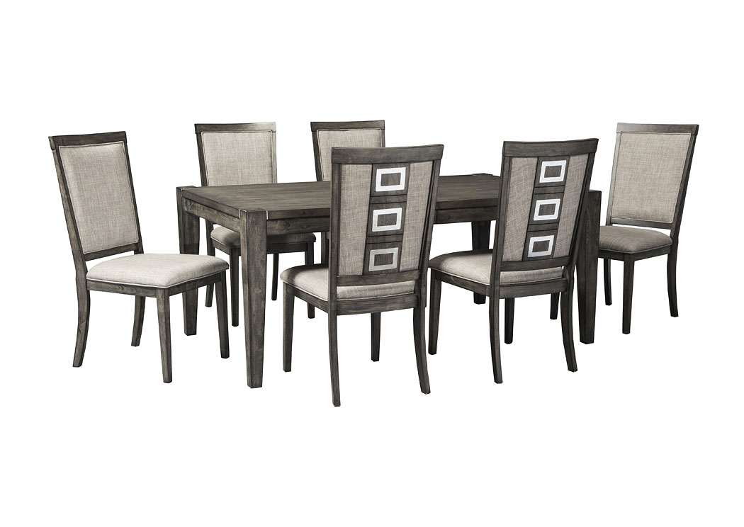 Chadoni Rectangular Dining Table w/6 Chairs