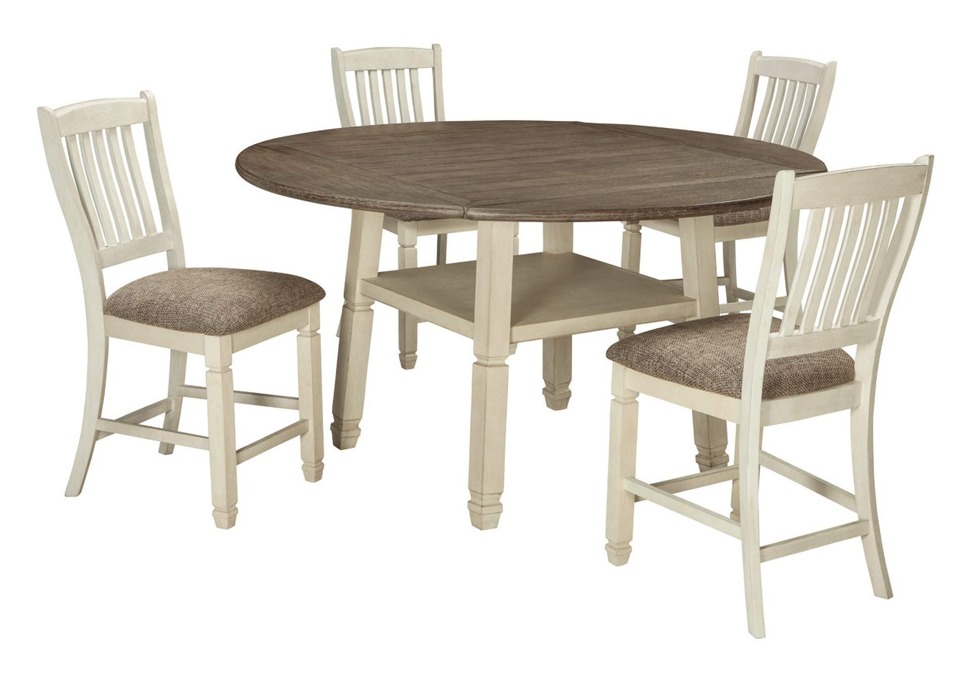 Bolanburg Counter Height Dining Room Drop Leaf Table and 4 Bar Stools