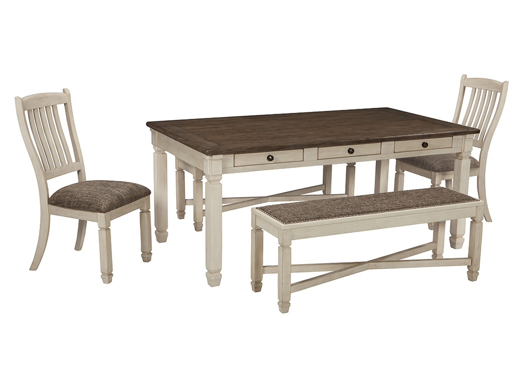 Bolanburg Rectangular Dining Table w/2 Side Chairs and 2 Benches
