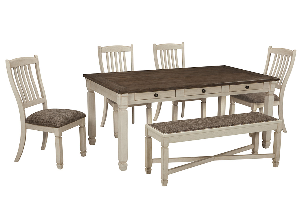 Bolanburg Rectangular Dining Table w/Bench and 4 Side Chairs