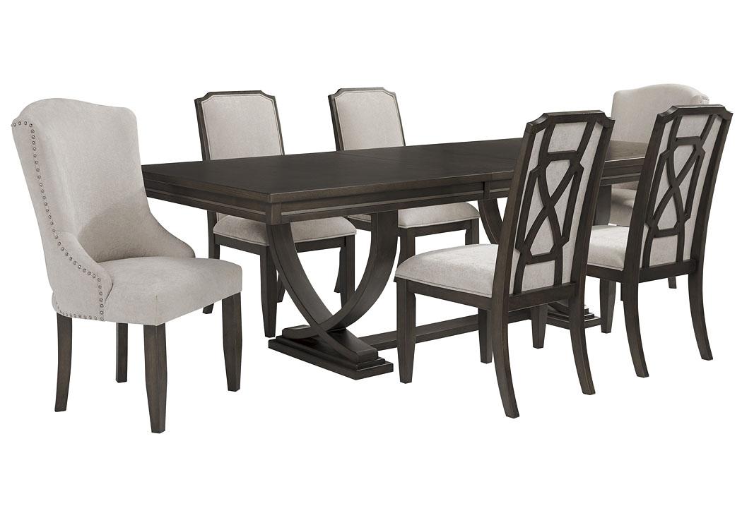 Zimbroni Brown Rectangular Dining Table, Zimbroni Dining Room Set