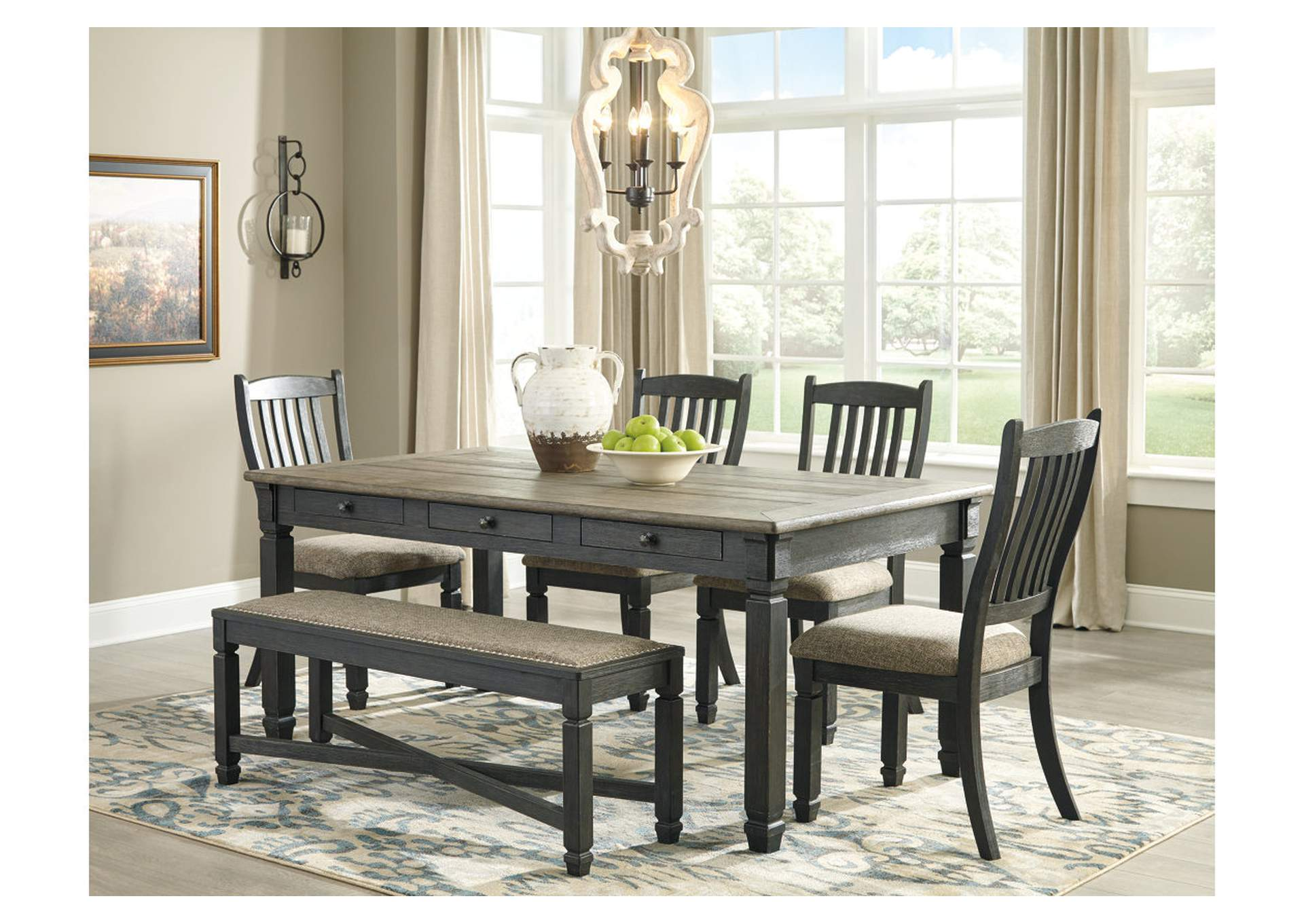 Tyler Creek Dining Table w/4 Chairs and Bench