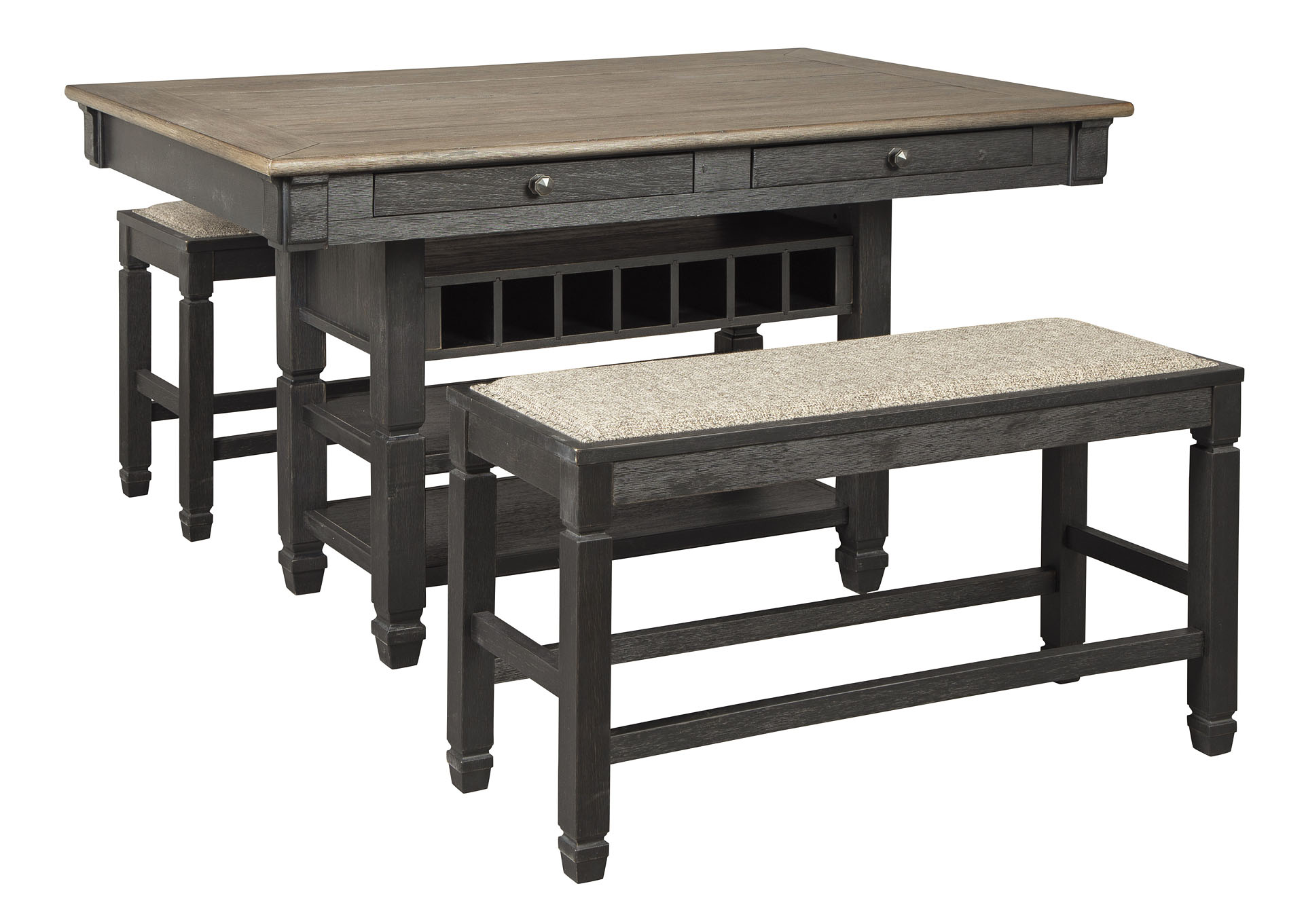 Tyler Creek Counter Height Dining Table and 2 Benches