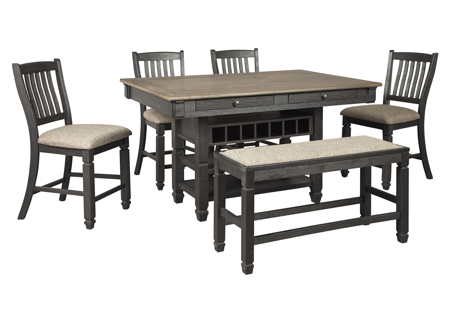 Tyler Creek Counter Height Dining Table w/4 Counter Stools and Bench