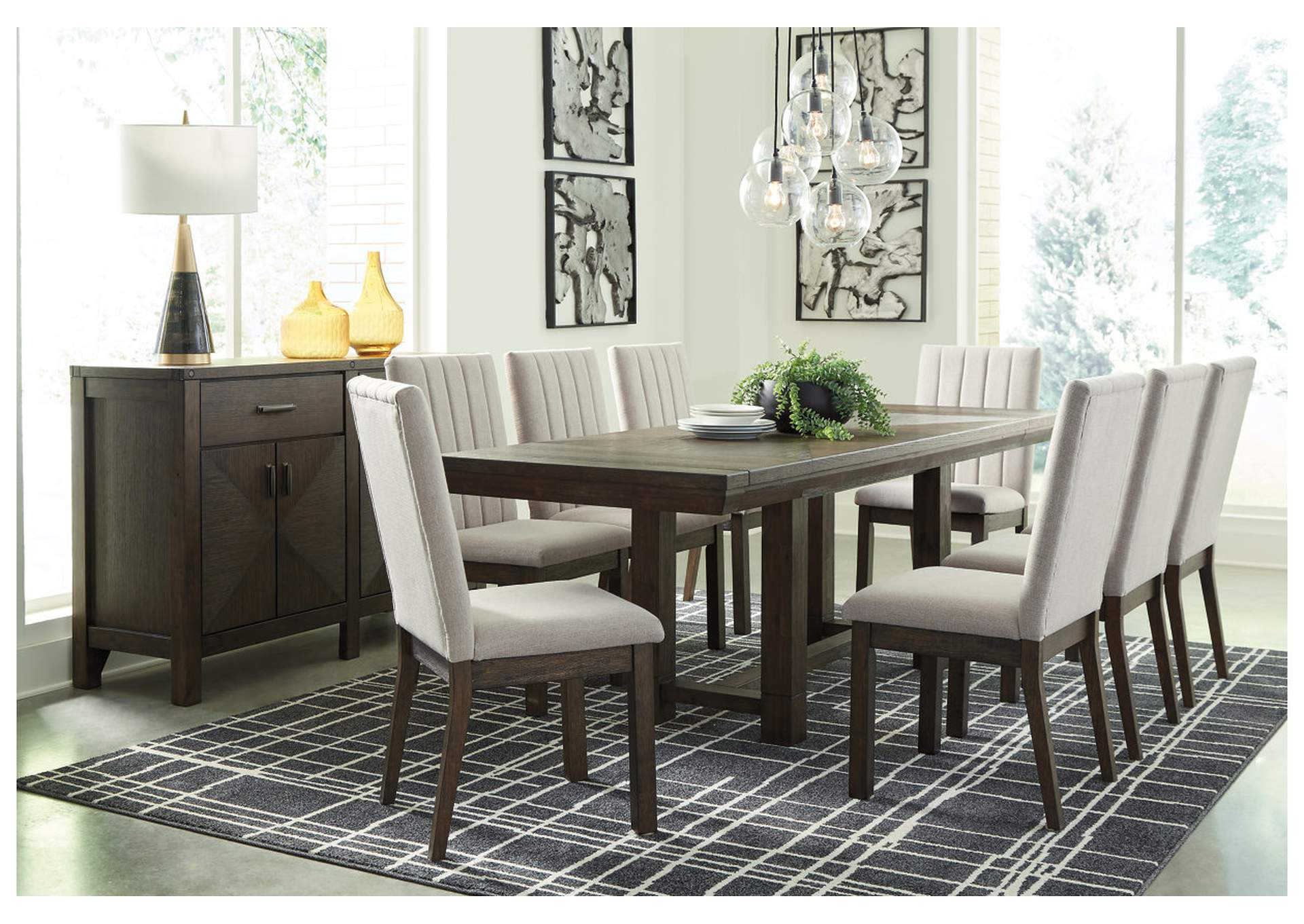 Dellbeck Dining Table W 8 Side Chair Ashley Furniture Homestore Independently Owned And Operated By Fairdeal Furniture