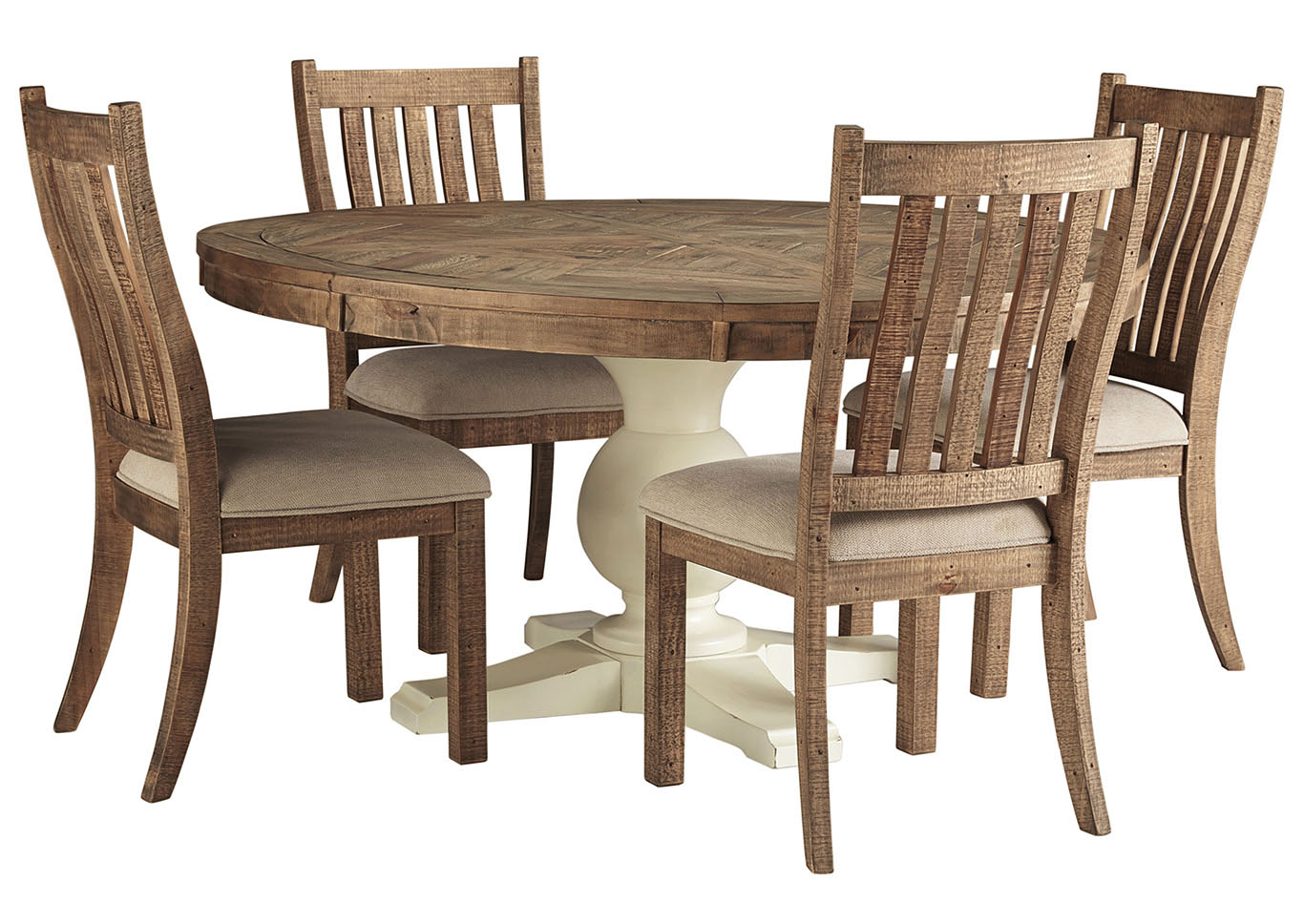 Grindleburg Round Dining Table w/4 Side Chairs