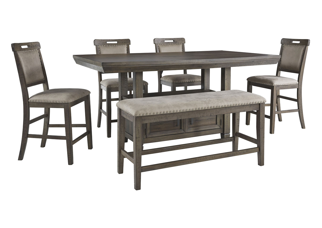Johurst Counter Table w/4 Bar Stool and Bench