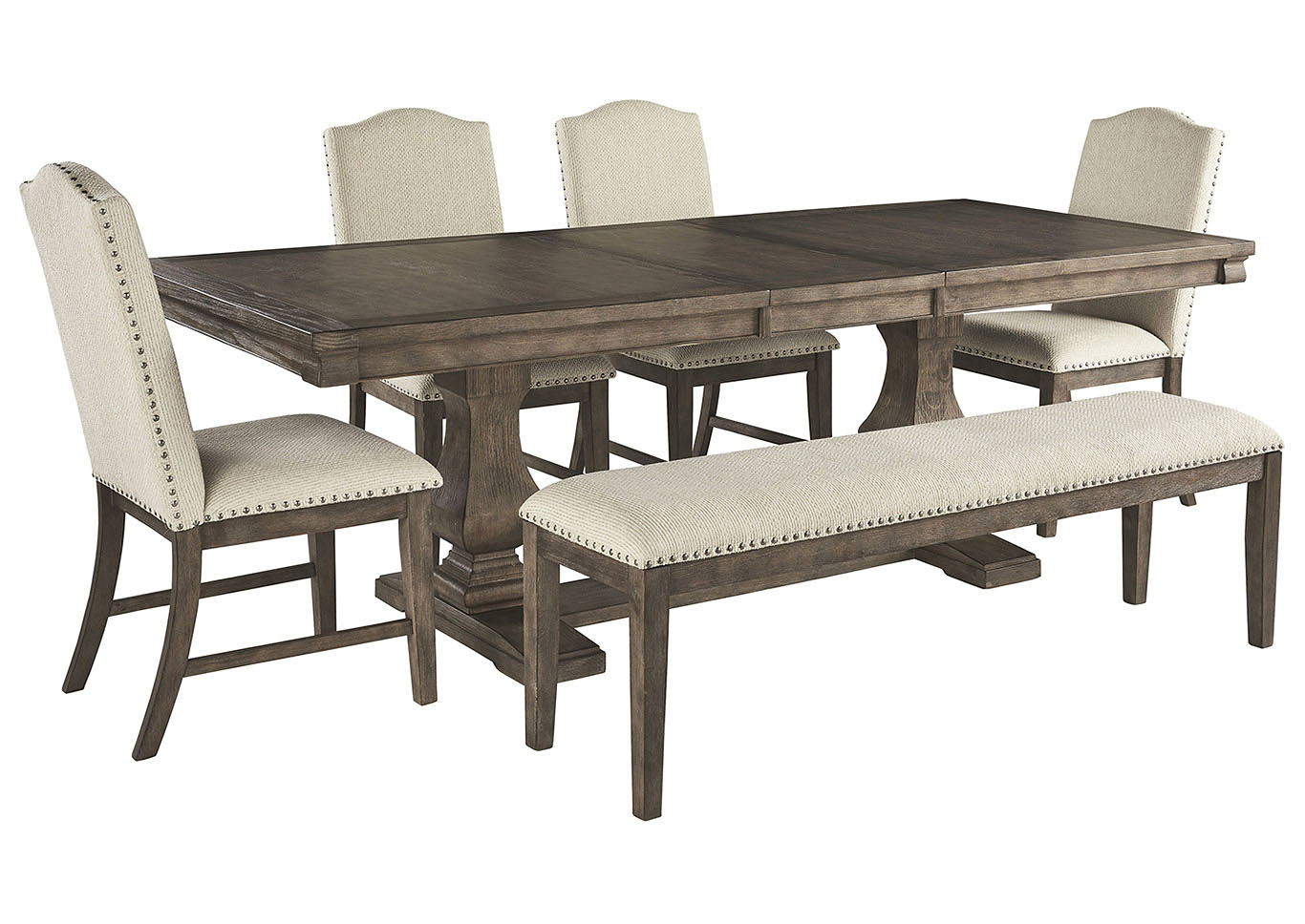Johnelle Dining Table w/4 Side Chairs and Bench