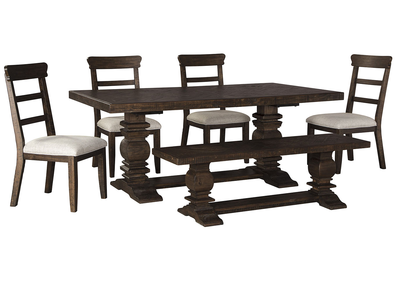 Hillcott Dining Table w/4 Side Chair and Bench