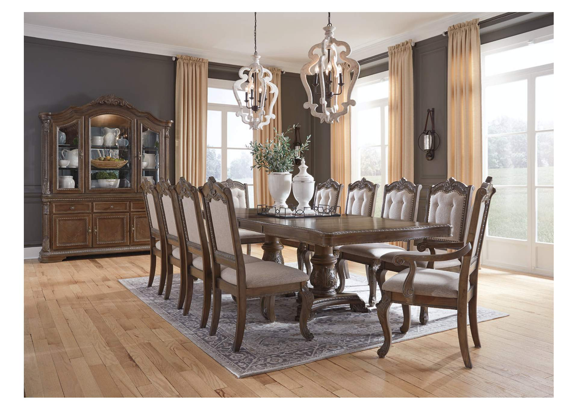 Charmond Dining Table W 8 Side Chairs And 2 Arm Chairs Ashley Furniture Homestore Independently Owned And Operated By Fairdeal Furniture