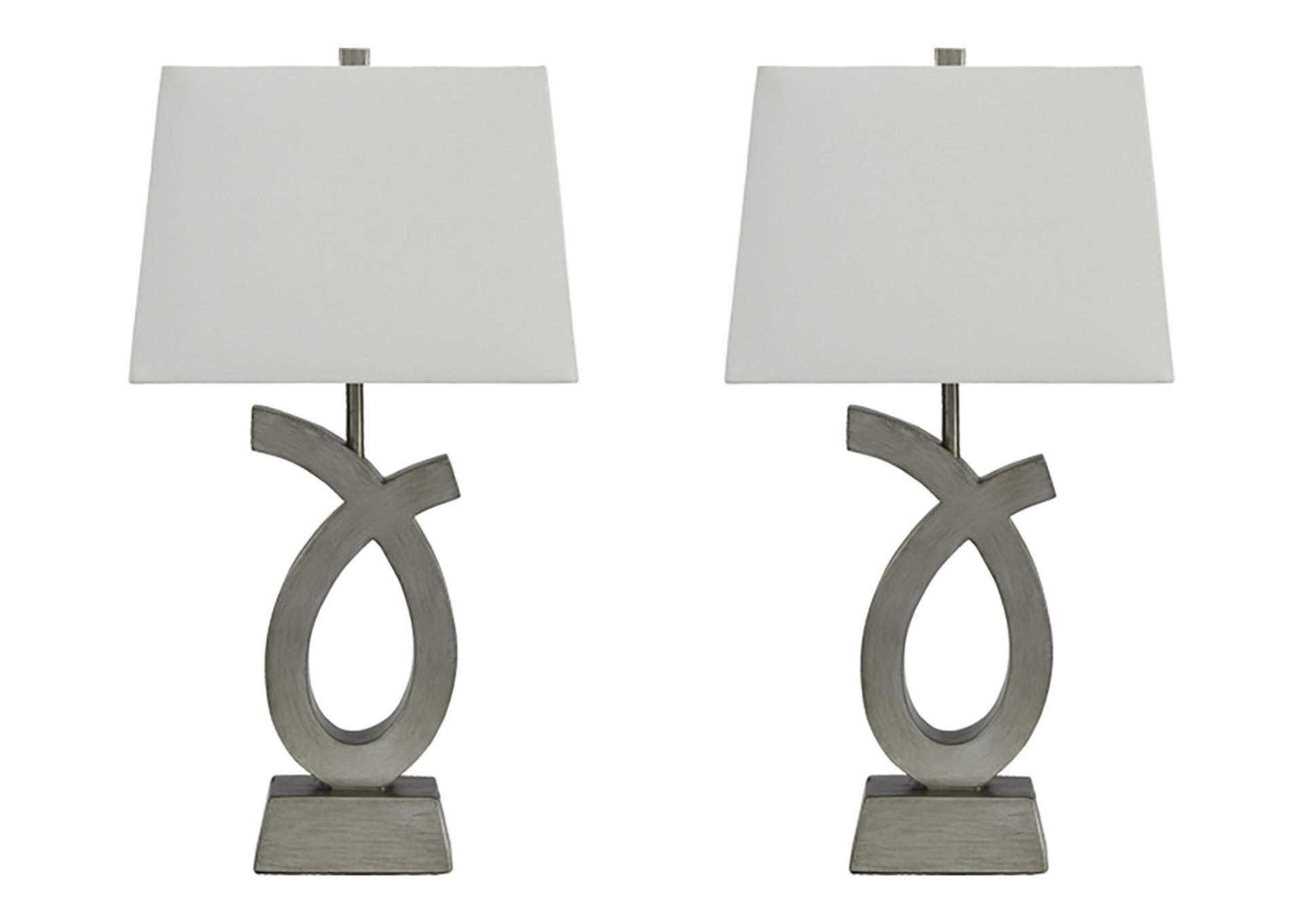 Lámpara de mesa Amayeta de poliéster con acabado de plata (juego de 2)