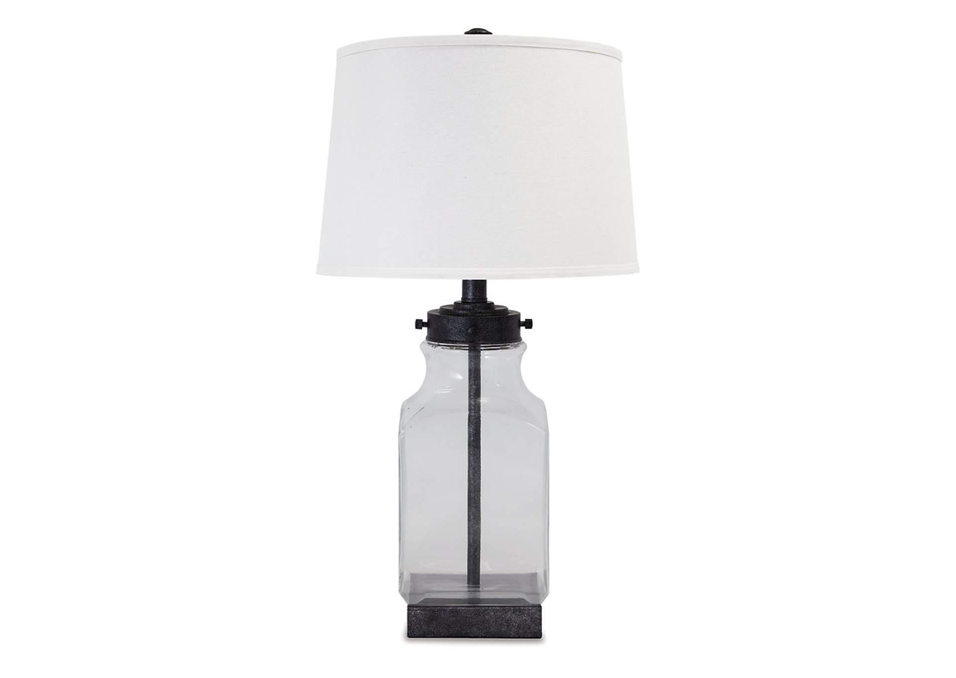 Lámpara de cristal transparente y acabado plata