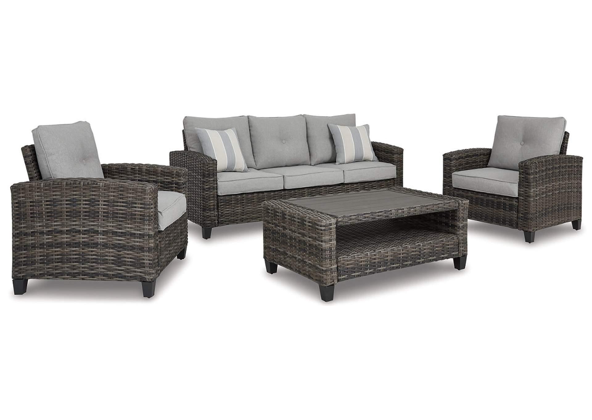 Juego de sala Cloverbrooke de sofá de tres plazas, 2 sillones y una mesa (Set de 4)