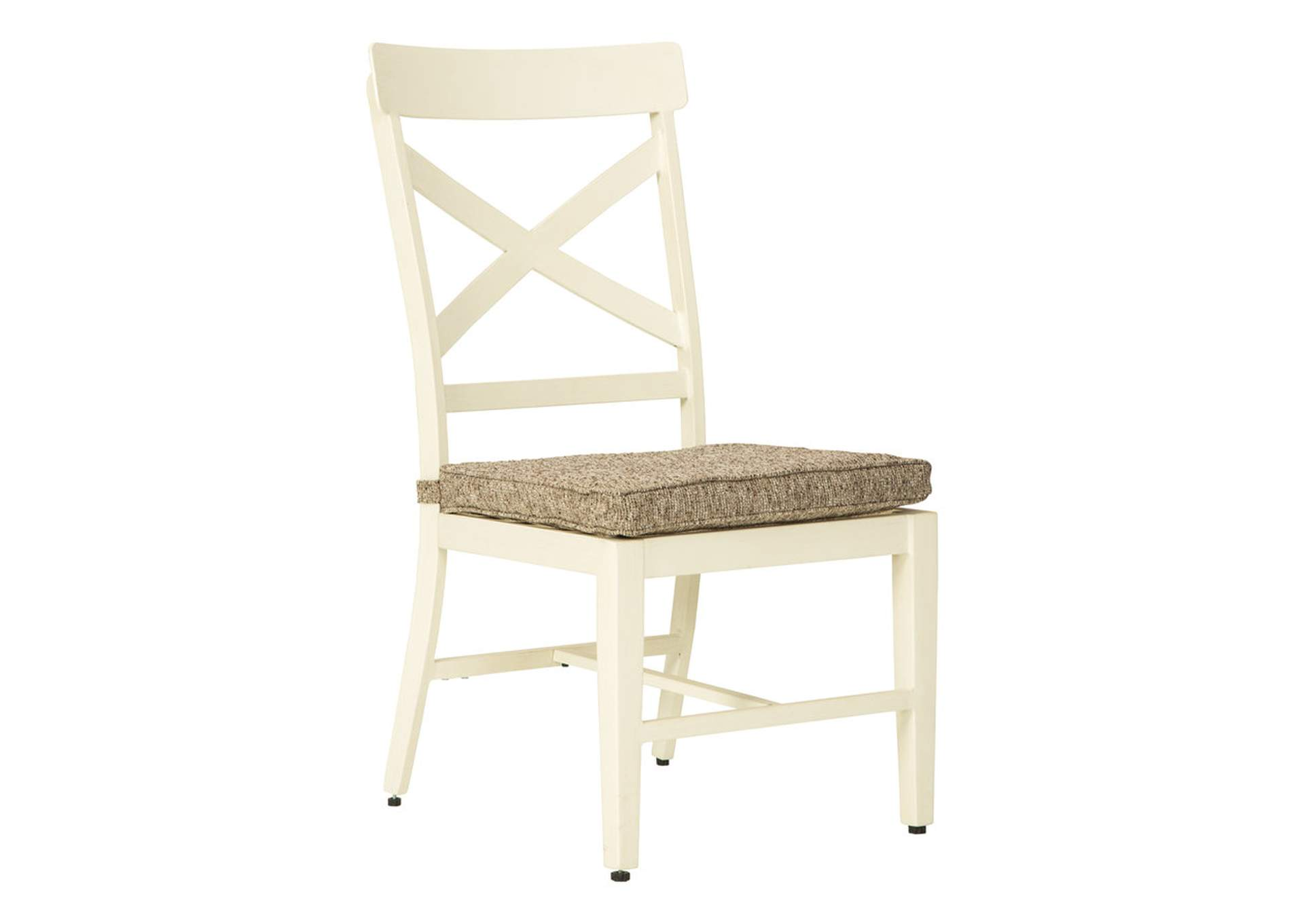 Preston Bay Antique White Chair with Cushion (Set of 2)