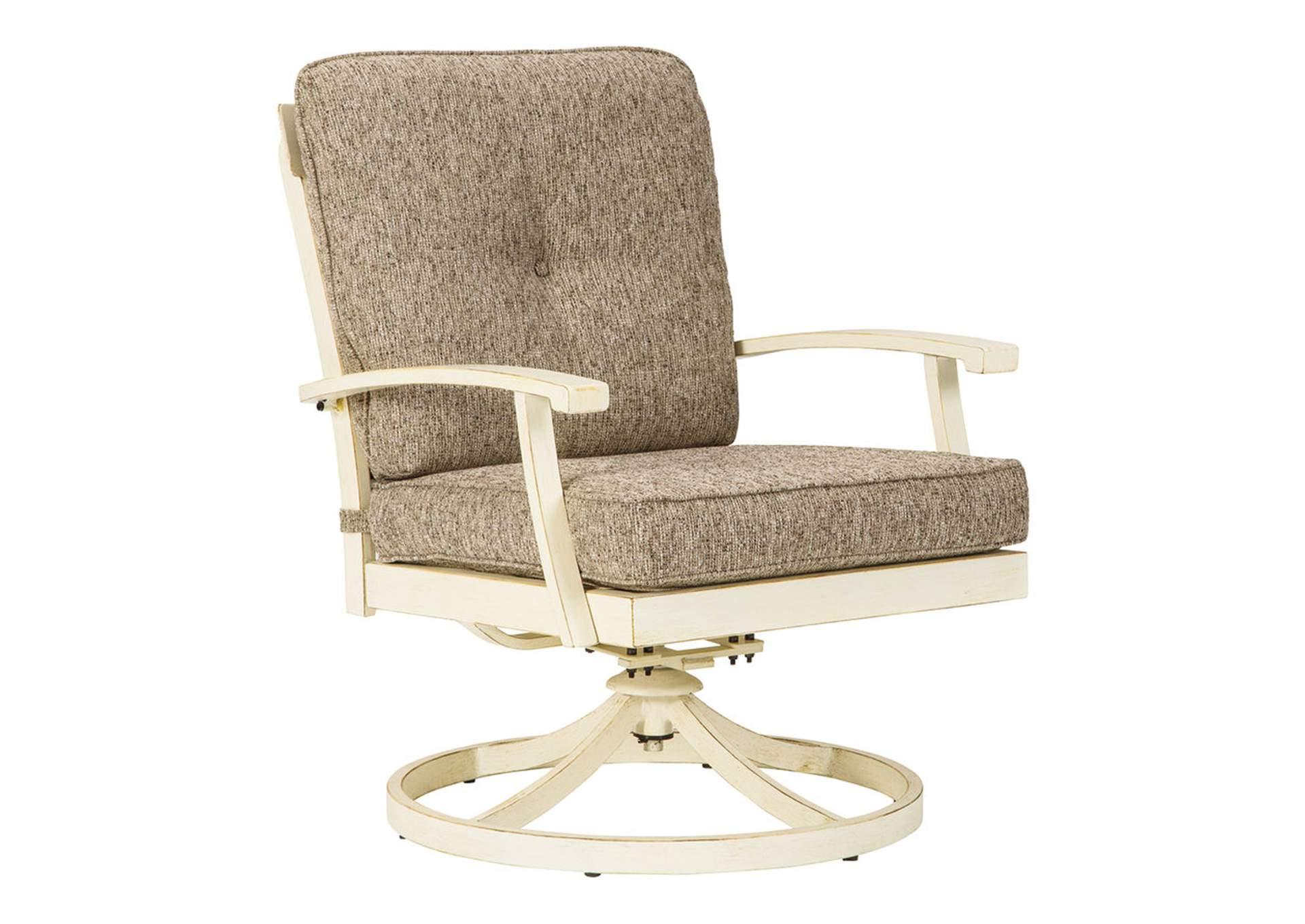 Preston Bay Antique White Swivel Lounge with Cushion (Set of 2)