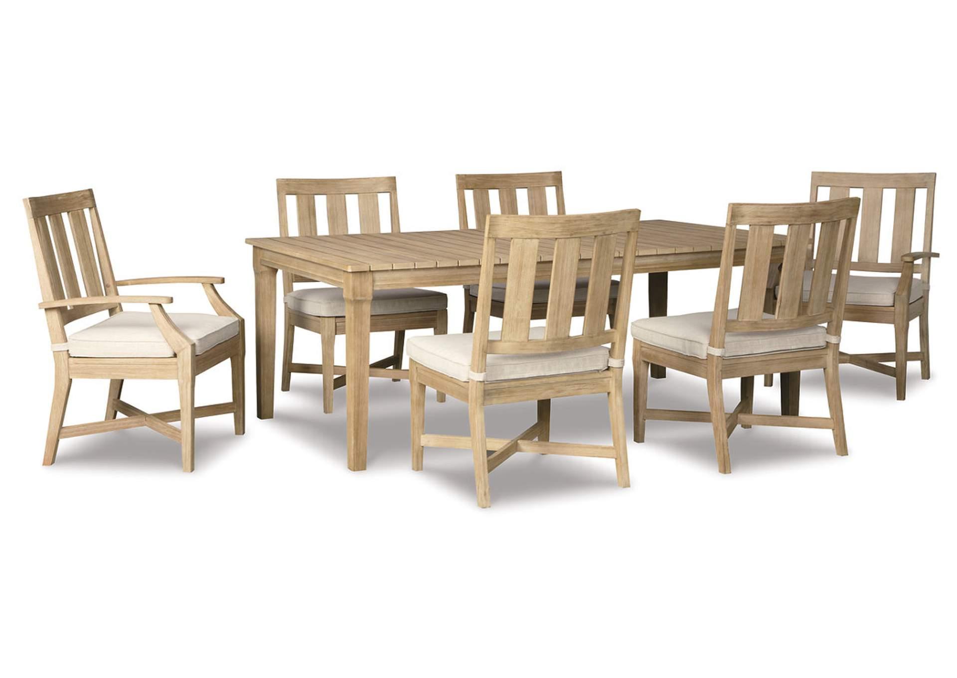 Clare View Обеденный стол с опцией зонта, 4 кресла, 2 кресла с подлокотниками бежевого цвета