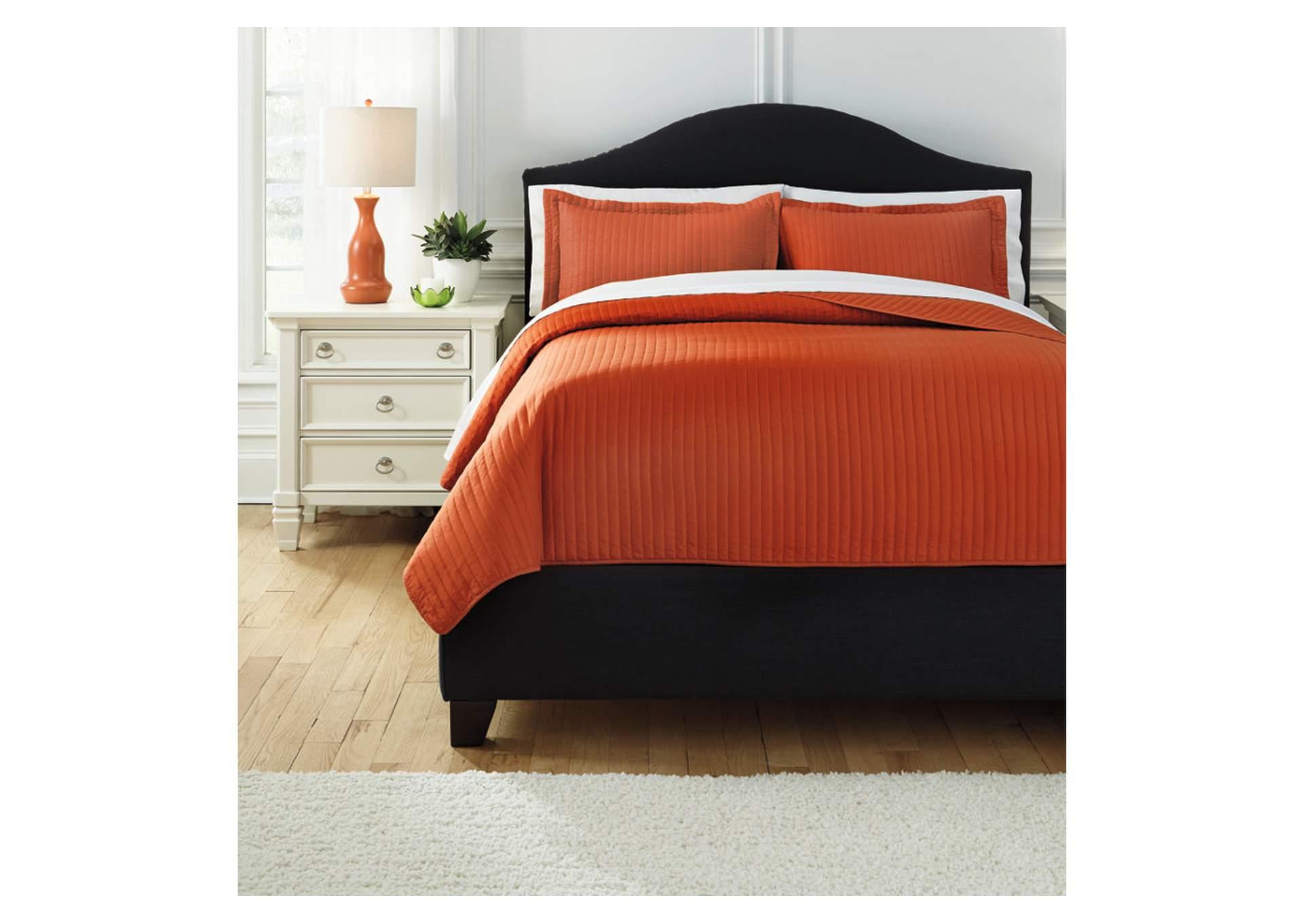 Juego de cubrecama Raleda color naranja para cama tamaño queen size