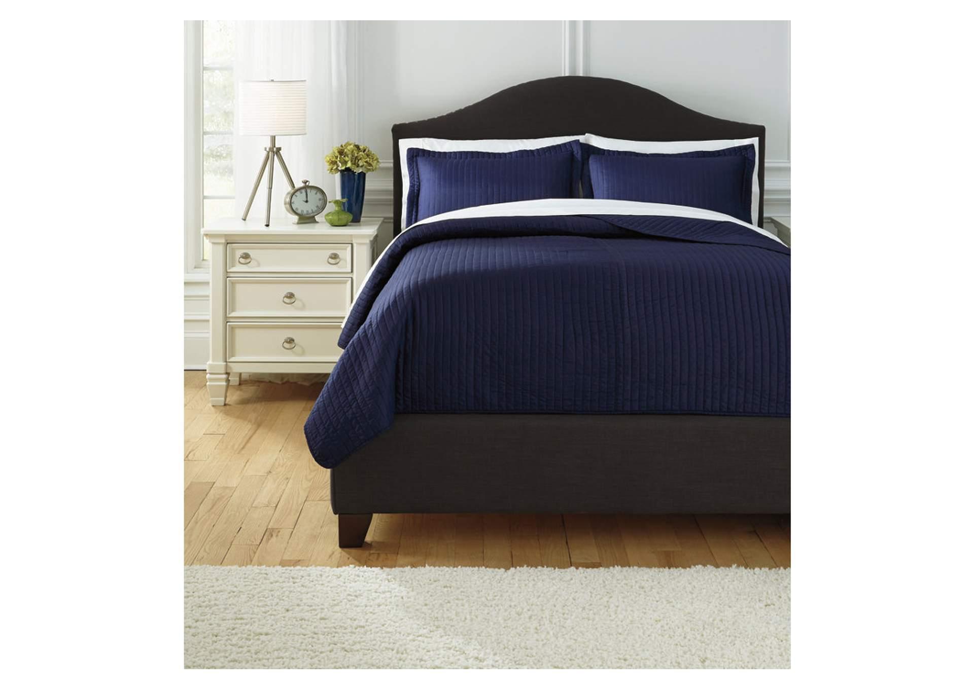 Juego de cubrecama Raleda color azul marino para cama tamaño queen size
