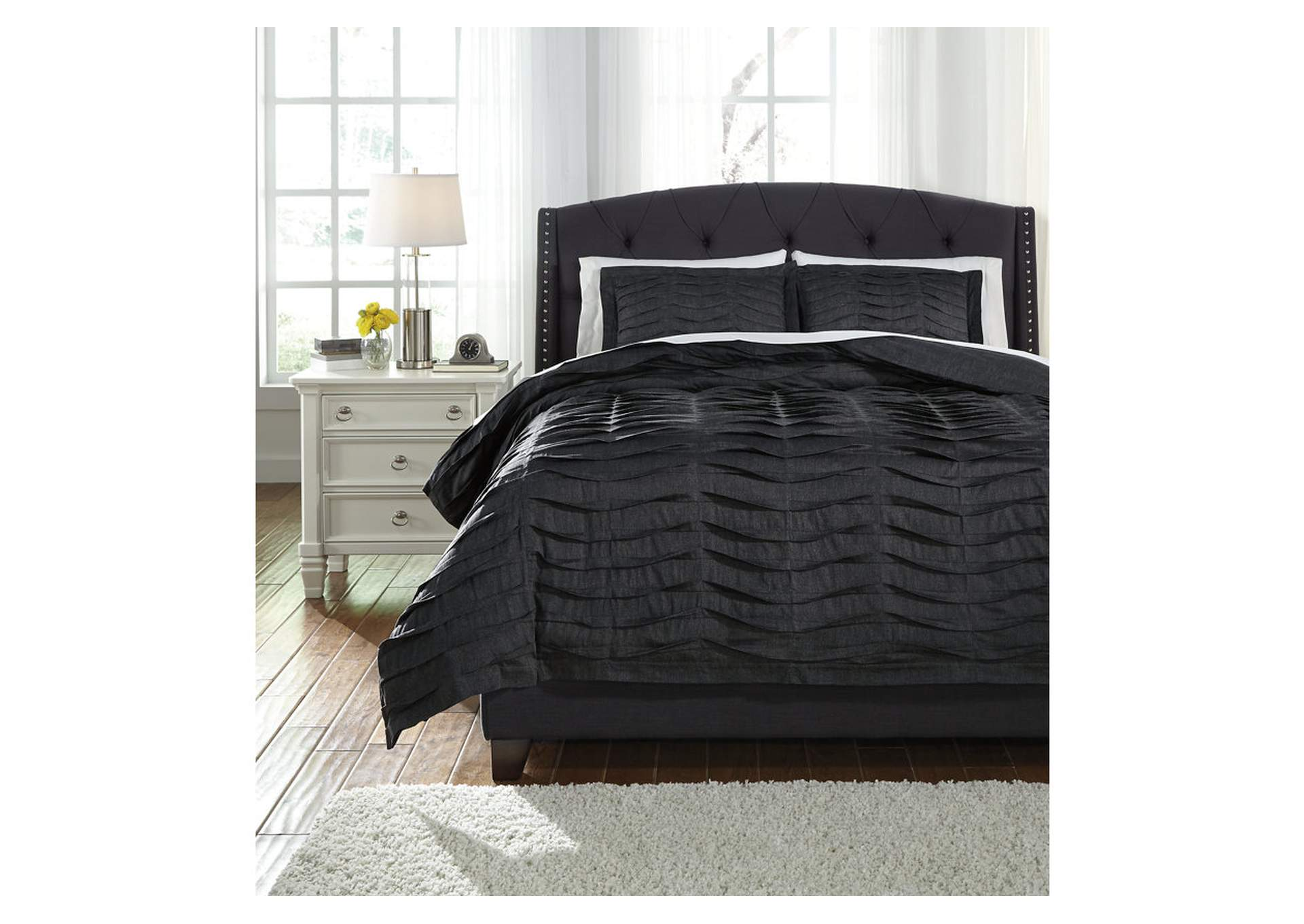 Juego de cobertor de duvet Voltos Charcoal en tamaño king (Set de 3)